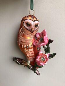 Nathalie Lete Vintage Inspired Glass Owl Christmas Tree Decoration