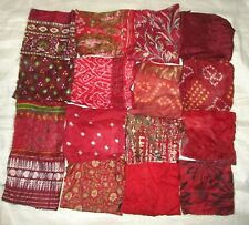 "LOT PURE SILK Vintage Sari Fabrics REMNANT 16 pcs 8"" SQUARES Red QUILT CRAFT EGG"