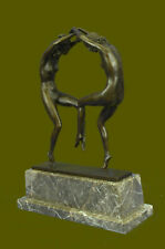 Signed Rare Museum Quality Twin Dancer By Aurore Onu Bronze Hot Cast Gift Art