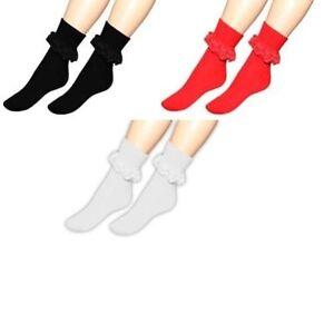 Ladies Girls Lace Socks 50's Vintage Socks Frilly Lace Dance School Ankle Socks