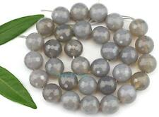 12mm Natural Round Faceted Gray Agate Loose Beads 15''