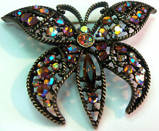 KIRKS FOLLY PRETTY SPARKLY BUTTERFLY PIN  BROOCH ESTATE JEWELRY VINTAGE