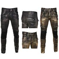 KROME+ Men's Skinny Fit Foil Print Denim With Studs & Quilt Premium Denim Jeans