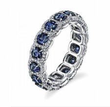 Round Cut Sapphire & Diamond Eternity Ring 14K White Gold Cocktail Gift