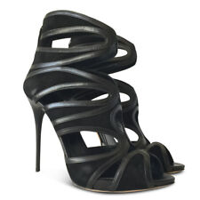 NEW ALEXANDER MCQUEEN Suede Cutout Sandals - Black - Size 40
