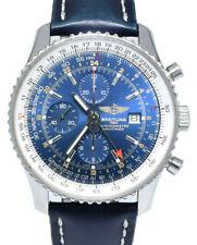 Breitling Navitimer World GMT Chronograph Steel Mens 46mm Watch +Box A24322