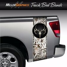 "Buck Deer Skull Camo ""Obliteration Snow"" Truck Bed Band Stripe Decal Graphic"