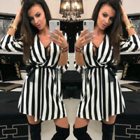 Women Lady Casual Black White Striped V Neck Dress Summer  Beach Party Dresses