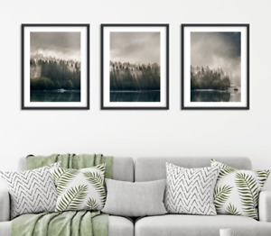 Forest Prints Set of 3 Mountain Wall Art Green Foggy Lake Tree Print Misty Woods