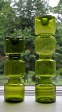 Mid Century Mod Green Art Glass Candle Holders Pair Kaj Franck Nuutajarvi Style