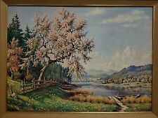 "Vintage Willy Hanft Mid Century Landscape Cherry Blossom 30"" x 22"" Litho Print"