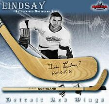 TED LINDSAY Signed Northland Wood Model Stick w/ Insc. - Detroit Red Wings