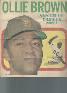 1970 Topps Poster Insert OLLIE BROWN #18 San Diego Padres