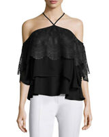 NEW Cinq a Sept Off-the-shoulder lace-paneled chiffon top in black - SZ XS #T168