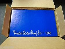 1968-S ONE SHIPPING BOX CONTAINING FIVE PROOF SETS WITH SILVER KENNEDY HALF 68-1