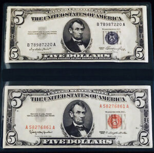 INCREDIBLE SET $5 RED SEAL & $5 BLUE SEAL SILVER CERTIF MEGA NICE SHARP EXAMPLES