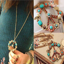 Pendant Crystal Long Chain Peace Women Sign Bronze Necklace Jewelry Gift