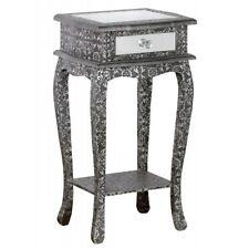 Blackened Silver Metal Embossed Mirrored 1 Drawer Bedside Table