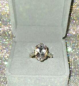 9k 4.538ct Rose De France Amethyst & Diamond Ring, UK Ring Size N