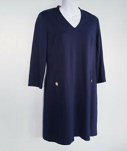 Women's ELIZA J Navy Blue V-Neck 3/4 Sleeve Lined Dress Size 8P Sheath