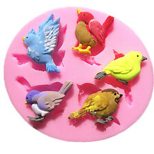 New Chocolate Soap Mold Baking Cake Decoration Tool 3D 5 Birds Silicone Moulds