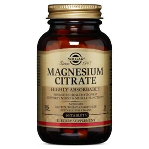 Solgar Magnesium Citrate - 60 Tablets FRESH, FREE SHIPPING, MADE IN USA