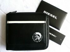 Genuine DIESEL Zipped Black LEATHER WALLET & COIN POCKET Holds Cards Notes D7