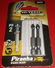 PH2 Torsion Screwdriver Bit Phillips 2 Piranha Black and Decker X62161 Pack of 2
