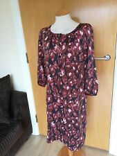 Ladies LAURA ASHLEY Dress Size 12 Burgundy Tunic Button Down Smart Casual Day