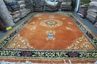 Vintage Indo Chinese Peking Art Deco Rug Carpet 11'9 x 17'10 Hand Knotted Wool