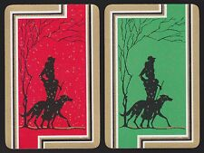 2 Single VINTAGE Swap/Playing Cards DECO LADY BORZOI DOG GOLD SNOW Silhouette
