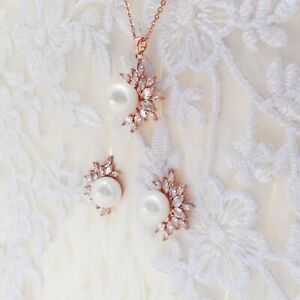 Bridal Wedding Set Earrings Necklace Rose Gold CZ Crystal Pearl Prom Bride Boxed