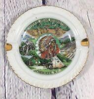 "Vintage Cherokee Indian Reservation Ashtray North Carolina Souvenir - 4.75"""