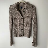 GAP Women's Cardigan Sweater Size Small Button Front Brown Tan Cotton Blend