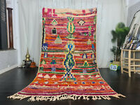 "Boujaad Handmade Bohemian Moroccan Rug 5'3""x9' Abstract Colorful Berber Wool Rug"