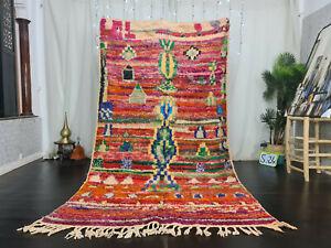 "Boujaad Handmade Bohemian Moroccan Rug 5'3""x9' Abstract Colorful Berber Wool Rug"