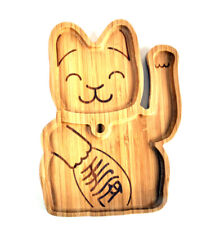 Lucky Cat Bamboo Serving Tray