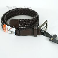 "DOCKERS Men's SMALL 30-32 BROWN BRAIDED Faux Leather BELT Expands Up 2"" STRETCH"