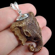 ELEPHANT Design CARVED BONE & 925 STERLING SILVER PENDANT Jewellery