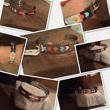Bracelet Jonc Argent / Acier  Bohème Chic Rectangle Céramique Perle Perles