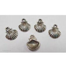 10pcs Silver Tone Sea Shell Metal Charm Pendants Crafts Jewellery Making DIY