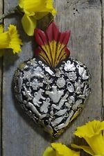 #1 Medium Black Sacred Heart Wood & Milagros Miracle Mexican Folk Art Michoacán