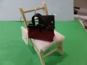 3 Purses Handbags Ladderback Wood Chair for shop or Home Dollhouse Minis 1:12 B