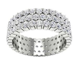 Three Row Eternity Ring I1 G 2.85 Ct Round Cut Diamond 14K White Gold Size 9.75