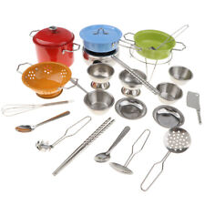 Colorful 25pcs Children Real Cooking Stainl Steel Cookware Kitchen Toy