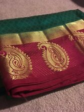 India GREEN & PINK Soft SILK SARI With BLOUSE Gold ZARI Traditional ETHNIC
