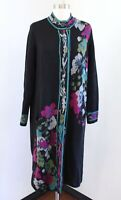 J Jill Black Floral Long Duster Cardigan Sweater Coatigan Size S Blue Pink