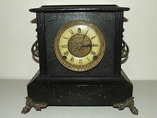 "Antique Working GILBERT ""Tuxedo"" Victorian Ebony Wood Mantel Shelf Clock c.1900"