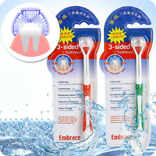 2 Toothbrush 3-Sided Elegant Nylon Teeth Mioo Oral Health Cleaner Dental Family