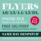 Flyers Leaflets Printed Full Colour 170gsm Silk Paper A6 DL A5 A4 A3